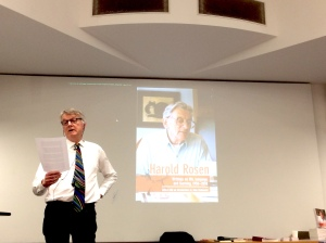 John Richmond's lecture on Harold Rosen's life's work. March 2017, Cruciform Lecture Theatre, UCL, London