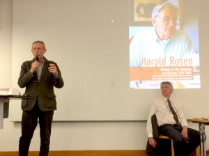 Michael Rosen introduces John Richmond's lecture on his father's life's work. March 2017, Cruciform Lecture Theatre, UCL, London