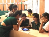 Group discussion about film edits at Delhi Public School
